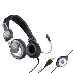 Headset USB multimedia con micrófono y volumen