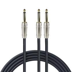 Cable de audio Zebra en Y de 6.3 mm estéreo a 2 x 6.3 mm estéreo de 0.9 m