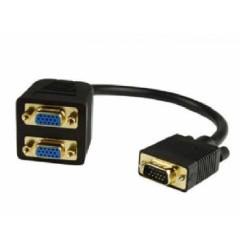 Cable N.A. VGA macho a 2 x VGA hembra de 15 cm