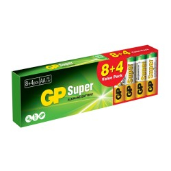 Batería GP Super Alcalina AA 1.5V , 12 unidades