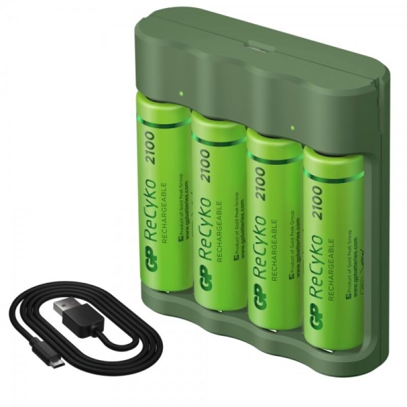 Kit de batería GP recargable NiMH AA 4 piezas de 2100 mAh con cargador