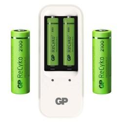 Kit de batería GP recargable NiMH AA de 2100 mAh y AAA de 850 mAh con cargador