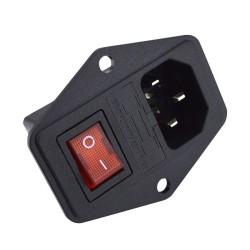 Socket de AC con switch y fusible