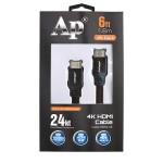 Cable Audiopipe HDMI a HDMI 4K de 1.8 m con conectores de oro