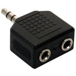 Adaptador N.A. de 3.5mm macho a dos 3.5mm hembra, estéreo