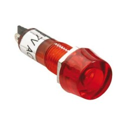 Foco neón en encapsulado redondo, color rojo, de 120 VCA