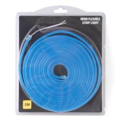 Tira LED flexible Neón azul de 5m con fuente de 12V