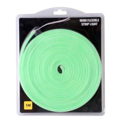 Tira LED flexible Neón verde de 5m con fuente de 12V