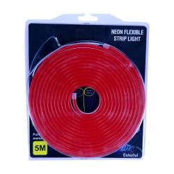 Tira LED flexible Neón rojo de 5m con fuente de 12V