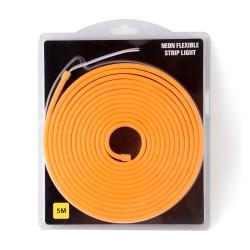 Tira LED flexible Neón anaranjado de 5m con fuente de 12V