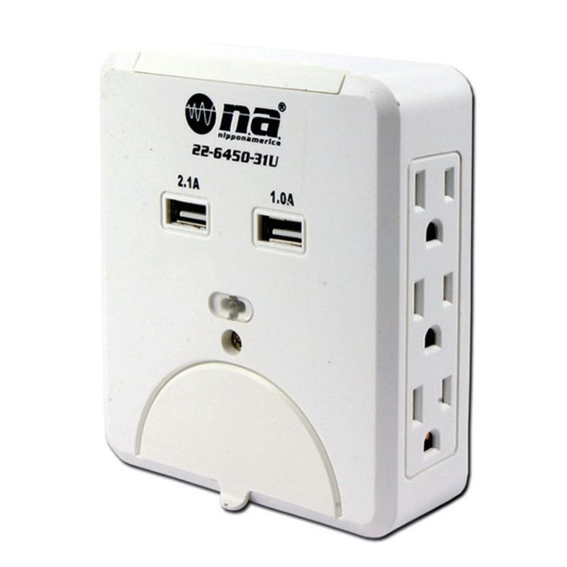 Tomacorriente Nippon America 6 salidas 5V con puertos USB