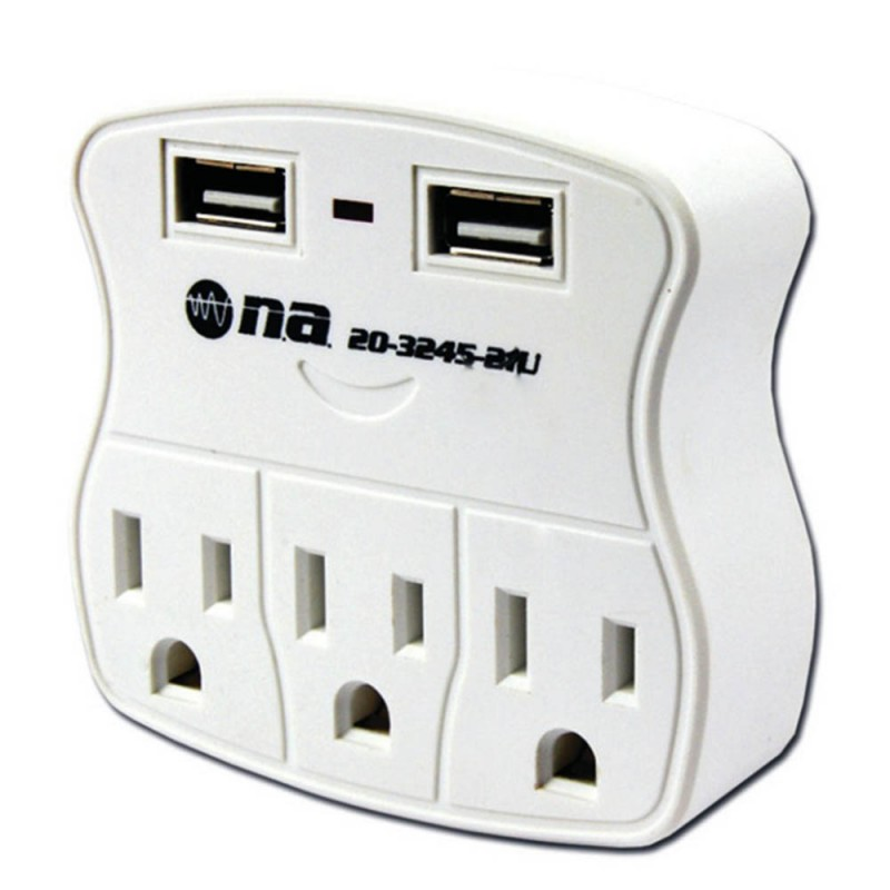 Tomacorriente N.A. de 3 salidas y 2 USB
