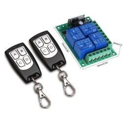 Módulo RF de control remoto y relé 12V de 4 canales con dos controles
