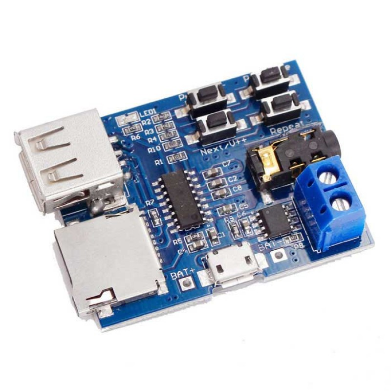 Módulo reproductor de MP3 con lector de MicroSD y USB
