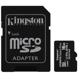 Tarjeta microSD Kingston de 16GB con adaptador SD