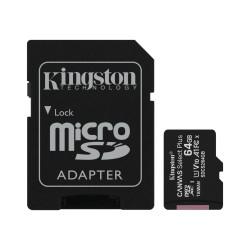 Tarjeta microSD Kingston de 64GB con adaptador SD