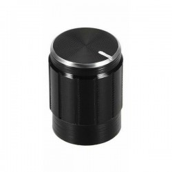 Perilla para potenciómetro pequeña de aluminio, negro