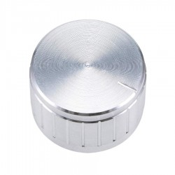 Perilla para potenciómetro grande de aluminio, plateada