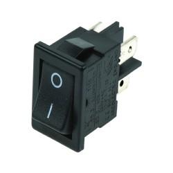 Switch ON OFF DPST, negro rectangular 10A